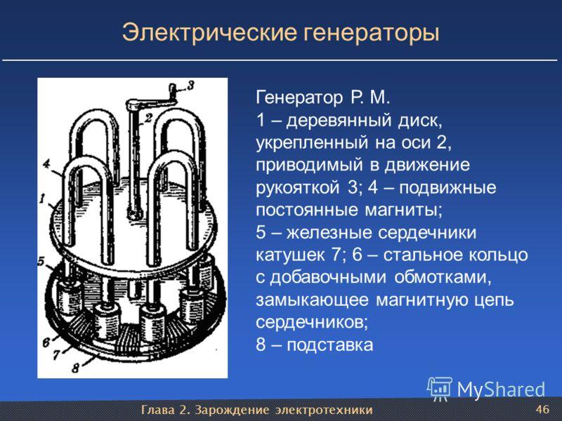 Глава 2. Зарождение электротехники 46 Электрические генераторы Генератор Р. М. 1 – деревянный диск, укрепленный на оси 2, приводимый в движение рукояткой 3; 4 – подвижные постоянные магниты; 5 – железные сердечники катушек 7; 6 – стальное кольцо с до