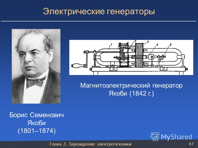 Глава 2. Зарождение электротехники 47 Электрические генераторы Борис Семенович Якоби (1801–1874) Магнитоэлектрический генератор Якоби (1842 г.)