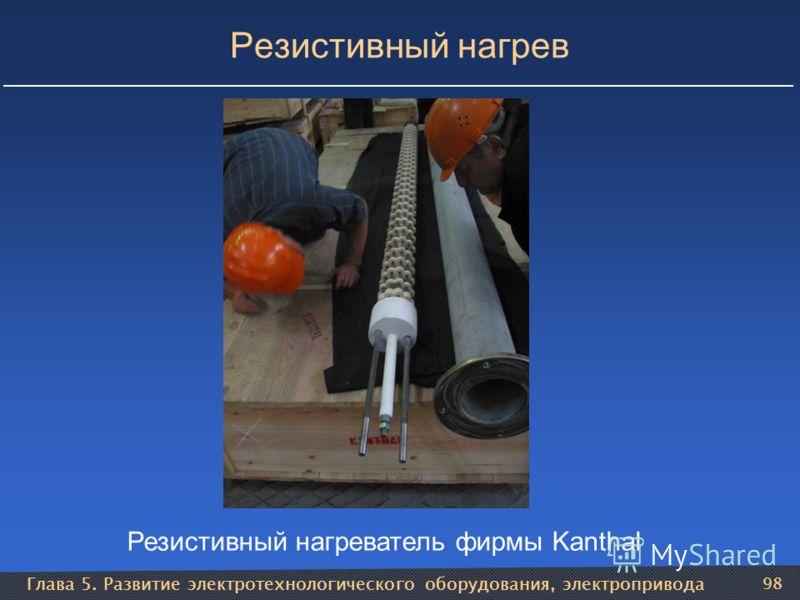 Глава 5. Развитие электротехнологического оборудования, электропривода 98 Резистивный нагрев Резистивный нагреватель фирмы Kanthal