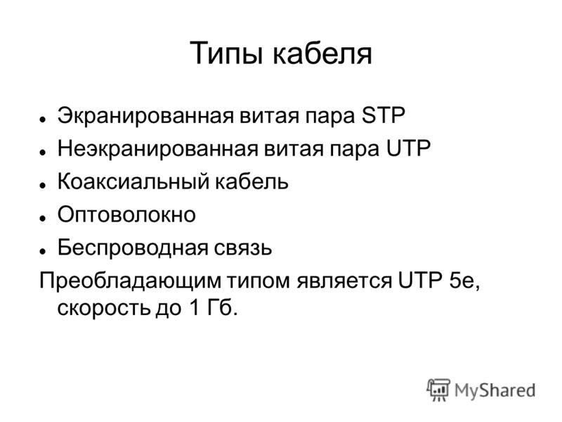 Типы кабеля Экранированная витая пара STP Неэкранированная витая пара UTP Коаксиальный кабель Оптоволокно Беспроводная связь Преобладающим типом является UTP 5e, скорость до 1 Гб.