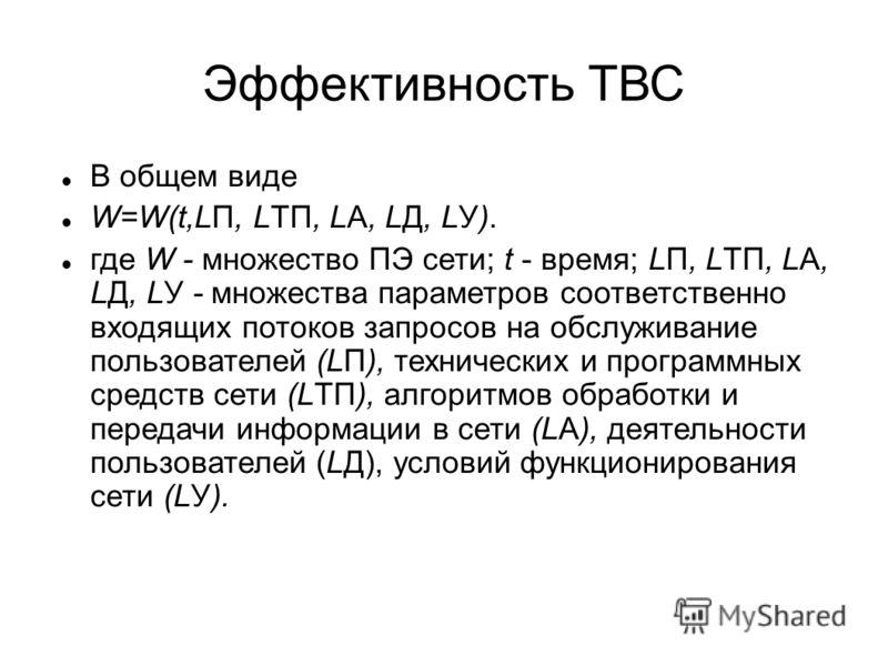 Эффективность ТВС В общем виде W=W(t,LП, LТП, LА, LД, LУ). где W - множество ПЭ сети; t - время; LП, LТП, LА, LД, LУ - множества параметров соответственно входящих потоков запросов на обслуживание пользователей (LП), технических и программных средств