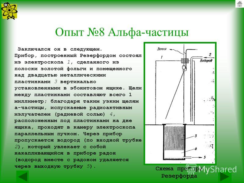 Опыт 8 Альфа-частицы Заключался он в следующем. Прибор, построенный Резерфордом состоял из электроскопа 1, сделанного из полоски золотой фольги и помещенного над двадцатью металлическими пластинками 3 вертикально установленными в эбонитовом ящике. Ще