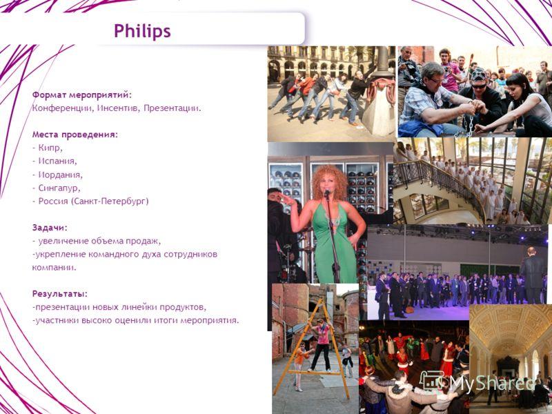 Philips Формат мероприятий: Конференции, Инсентив, Презентации. Места проведения: - Кипр, - Испания, - Иордания, - Сингапур, - Россия (Санкт-Петербург) Задачи: - увеличение объема продаж, -укрепление командного духа сотрудников компании. Результаты: