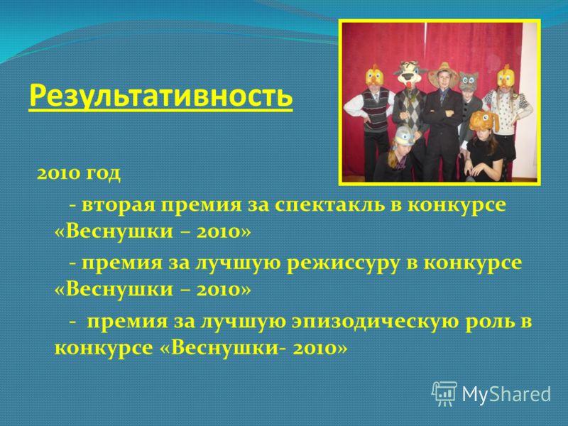 Результативность 2010 год - вторая премия за спектакль в конкурсе «Веснушки – 2010» - премия за лучшую режиссуру в конкурсе «Веснушки – 2010» - премия за лучшую эпизодическую роль в конкурсе «Веснушки- 2010»