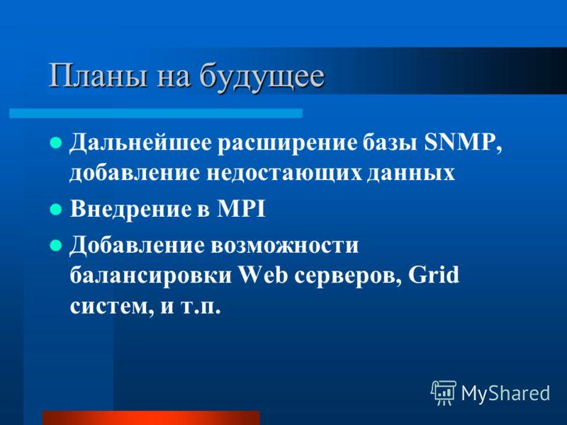 Планы на будущее Дальнейшее расширение базы SNMP, добавление недостающих данных Внедрение в MPI Добавление возможности балансировки Web серверов, Grid систем, и т.п.