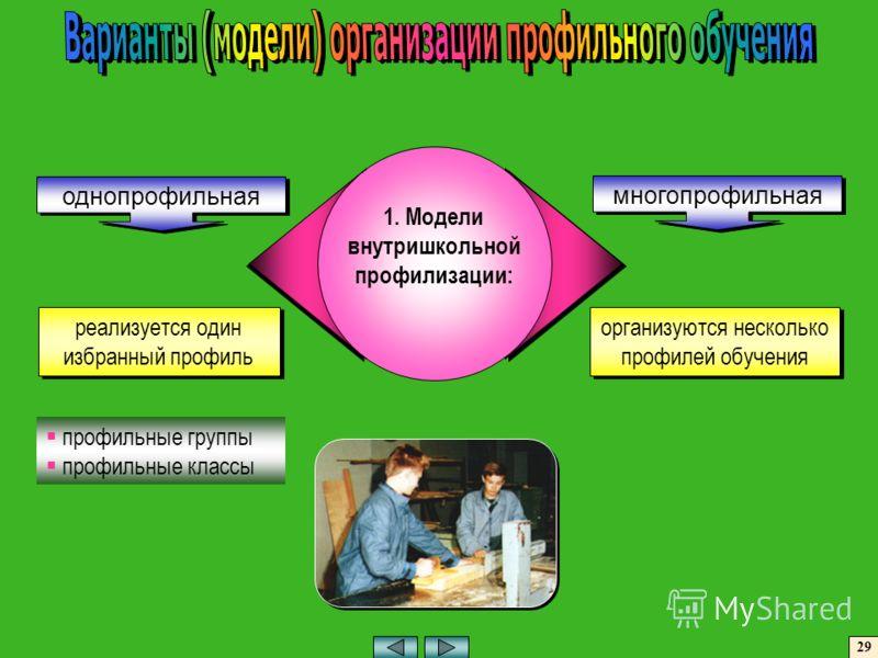 1. Модели внутришкольной профилизации: профильные группы профильные классы однопрофильная многопрофильная реализуется один избранный профиль организуются несколько профилей обучения 29