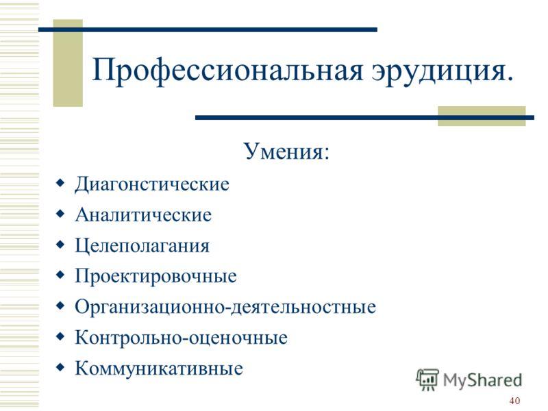 Профессиональная эрудиция. Умения: Диагонстические Аналитические Целеполагания Проектировочные Организационно-деятельностные Контрольно-оценочные Коммуникативные 40