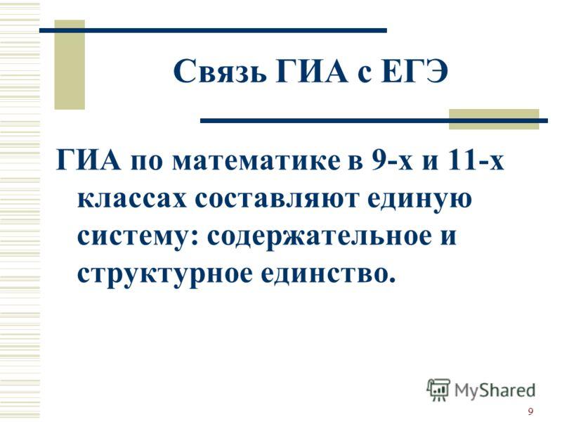 Связь ГИА с ЕГЭ ГИА по математике в 9-х и 11-х классах составляют единую систему: содержательное и структурное единство. 9