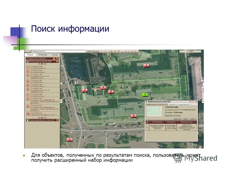 Поиск информации Для объектов, полученных по результатам поиска, пользователь может получить расширенный набор информации