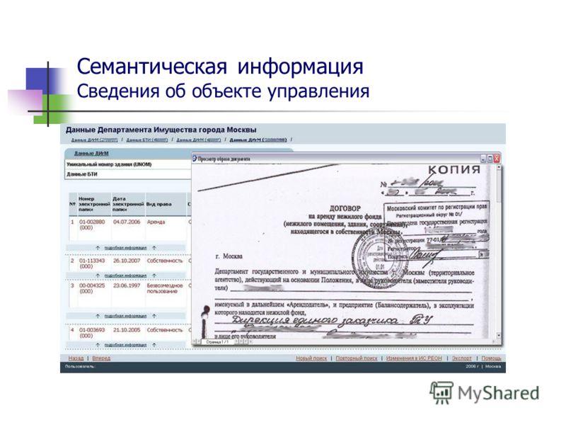 Семантическая информация Сведения об объекте управления
