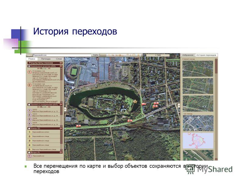 История переходов Все перемещения по карте и выбор объектов сохраняются в истории переходов