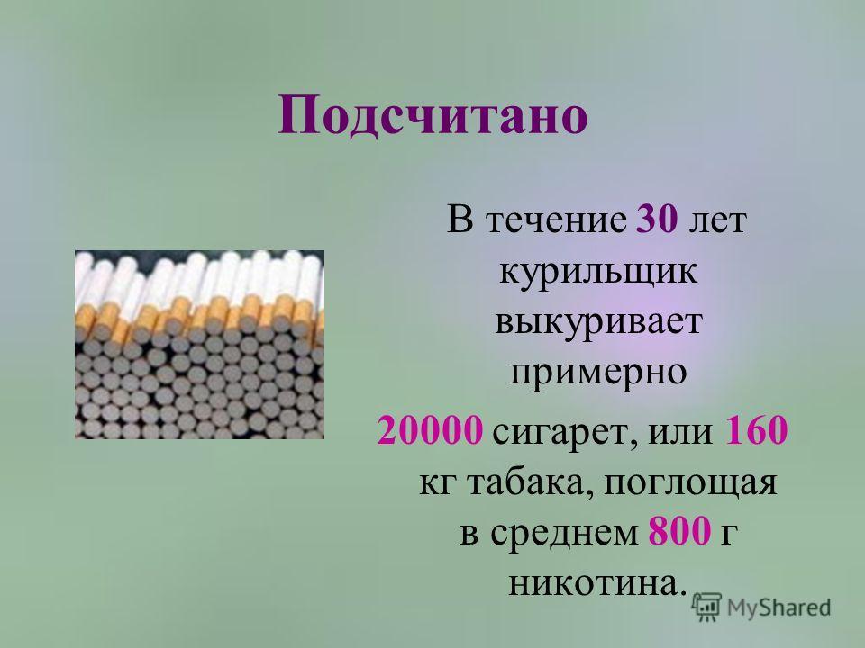 Подсчитано В течение 30 лет курильщик выкуривает примерно 20000 сигарет, или 160 кг табака, поглощая в среднем 800 г никотина.