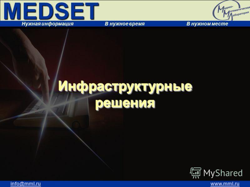 MEDSET Нужная информация В нужное время В нужном месте info@mml.ruwww.mml.ru Инфраструктурные решения