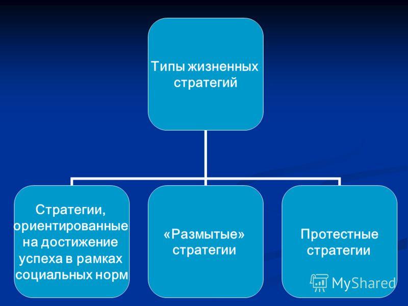 Типы жизненных стратегий Стратегии, ориентированные на достижение успеха в рамках социальных норм «Размытые» стратегии Протестные стратегии