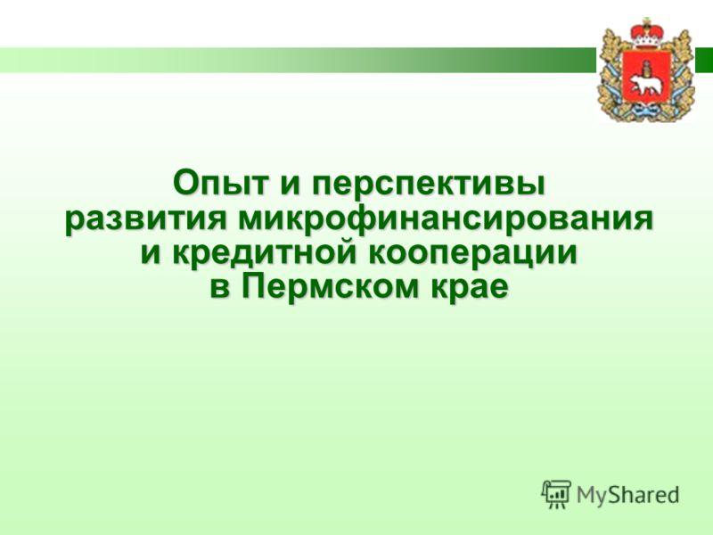 Опыт и перспективы развития микрофинансирования и кредитной кооперации в Пермском крае