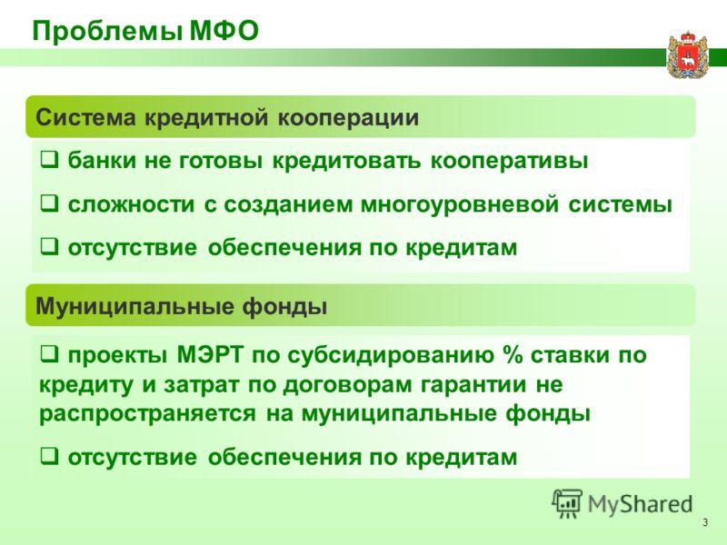 3 Проблемы МФО банки не готовы кредитовать кооперативы сложности с созданием многоуровневой системы отсутствие обеспечения по кредитам Система кредитной кооперации Муниципальные фонды проекты МЭРТ по субсидированию % ставки по кредиту и затрат по дог