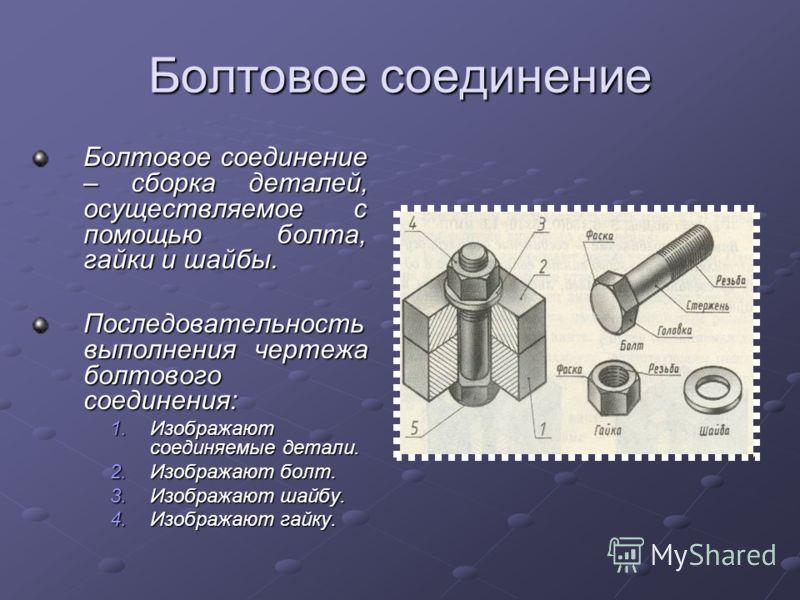 Болтовое соединение Болтовое соединение – сборка деталей, осуществляемое с помощью болта, гайки и шайбы. Последовательность выполнения чертежа болтового соединения: 1.Изображают соединяемые детали. 2.Изображают болт. 3.Изображают шайбу. 4.Изображают