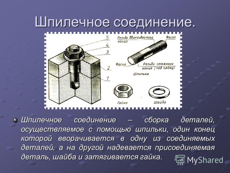 Шпилечное соединение. Шпилечное соединение – сборка деталей, осуществляемое с помощью шпильки, один конец которой вворачивается в одну из соединяемых деталей, а на другой надевается присоединяемая деталь, шайба и затягивается гайка.