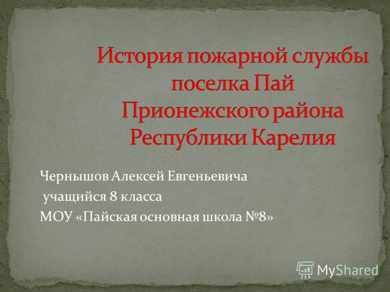 Чернышов Алексей Евгеньевича учащийся 8 класса МОУ «Пайская основная школа 8»