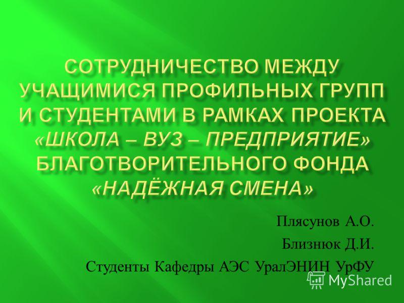 Плясунов А. О. Близнюк Д. И. Студенты Кафедры АЭС УралЭНИН УрФУ