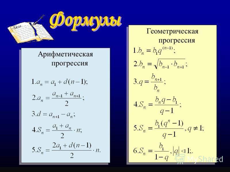 Арифметическая прогрессия Арифметическая прогрессия Геометрическая прогрессия Геометрическая прогрессия