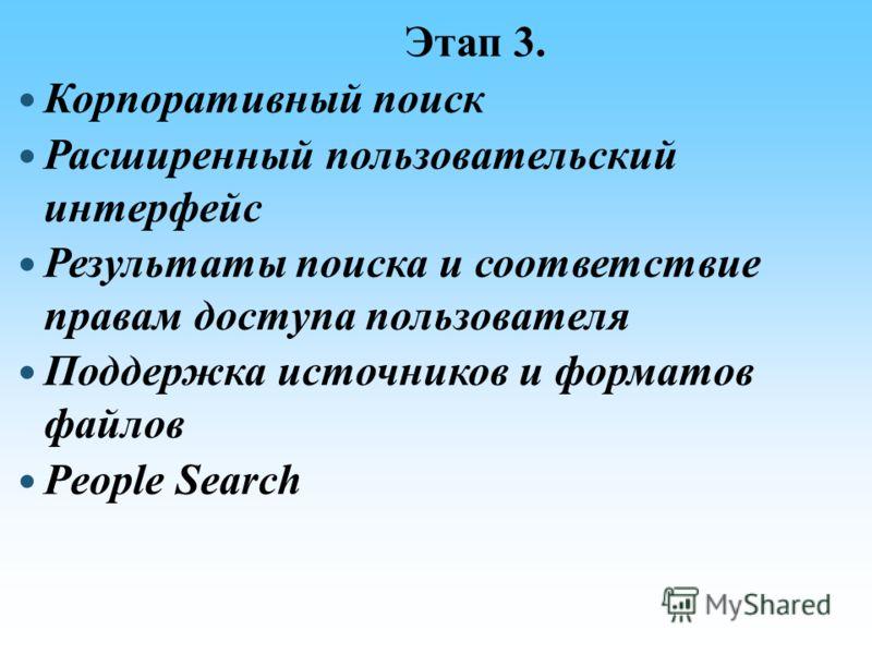 Этап 3. Корпоративный поиск Расширенный пользовательский интерфейс Результаты поиска и соответствие правам доступа пользователя Поддержка источников и форматов файлов People Search