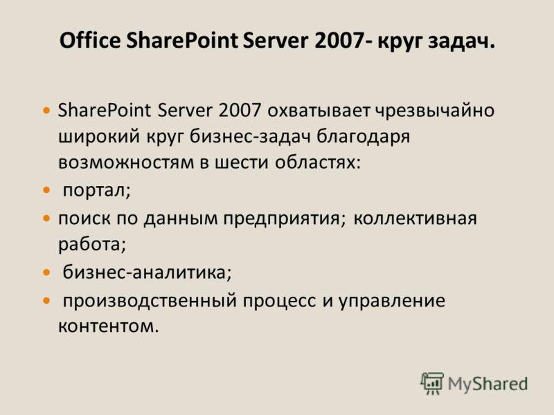 Office SharePoint Server 2007- круг задач. SharePoint Server 2007 охватывает чрезвычайно широкий круг бизнес-задач благодаря возможностям в шести областях: портал; поиск по данным предприятия; коллективная работа; бизнес-аналитика; производственный п