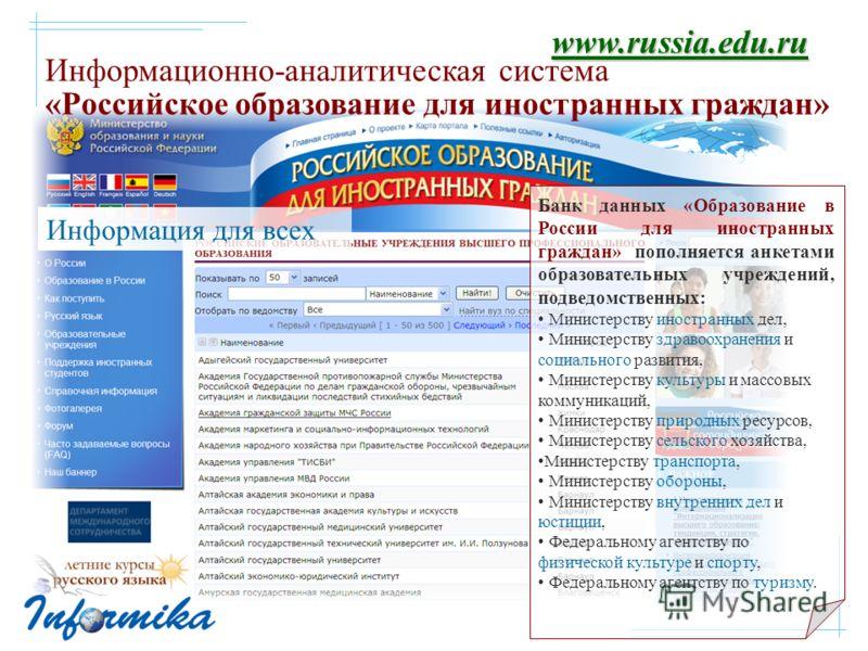 Информационно-аналитическая система «Российское образование для иностранных граждан» www.russia.edu.ru Банк данных «Образование в России для иностранных граждан» пополняется анкетами образовательных учреждений, подведомственных: Министерству иностран