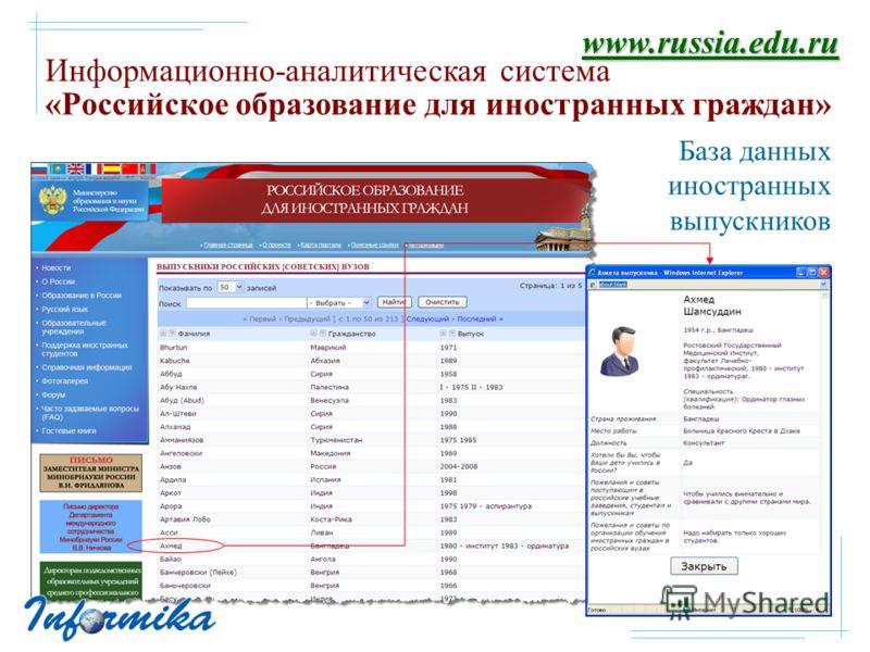 Информационно-аналитическая система «Российское образование для иностранных граждан» База данных иностранных выпускников www.russia.edu.ru