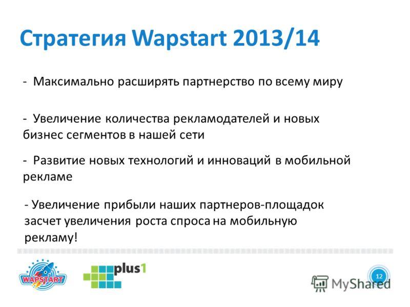 12 Стратегия Wapstart 2013/14 12 - Максимально расширять партнерство по всему миру - Увеличение количества рекламодателей и новых бизнес сегментов в нашей сети - Развитие новых технологий и инноваций в мобильной рекламе - Увеличение прибыли наших пар