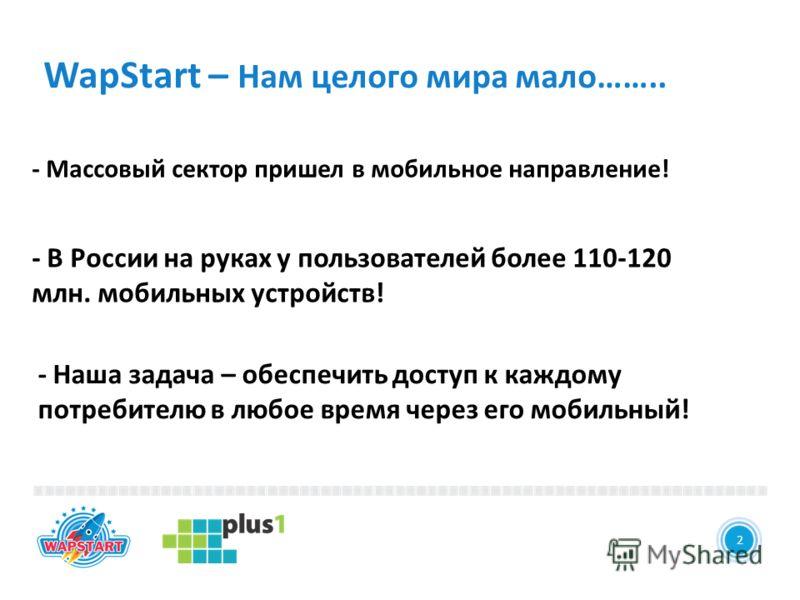 2 WapStart – Нам целого мира мало…….. - Массовый сектор пришел в мобильное направление! 2 - Наша задача – обеспечить доступ к каждому потребителю в любое время через его мобильный! - В России на руках у пользователей более 110-120 млн. мобильных устр