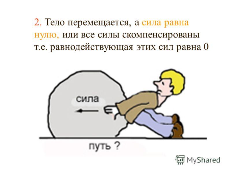 Например: мы действуем с силой на камень, но не можем его сдвинуть. 2. Тело перемещается, а сила равна нулю, или все силы скомпенсированы т.е. равнодействующая этих сил равна 0