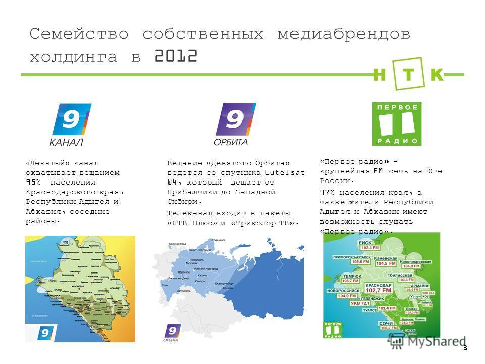 Семейство собственных медиабрендов холдинга в 2012 Вещание «Девятого Орбита» ведется со спутника Eutelsat W4, который вещает от Прибалтики до Западной Сибири. Телеканал входит в пакеты «НТВ-Плюс» и «Триколор ТВ». «Первое радио» - крупнейшая FM-сеть н