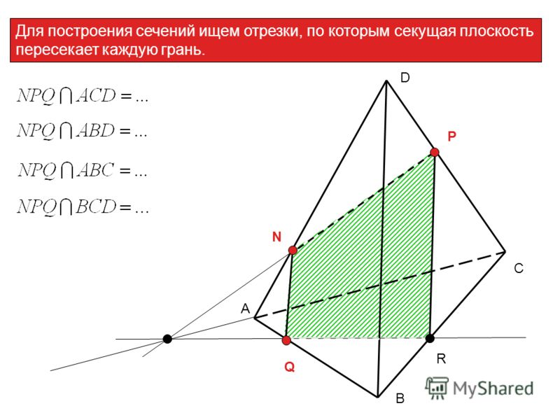 Для построения сечений ищем отрезки, по которым секущая плоскость пересекает каждую грань. А С В D N P Q R