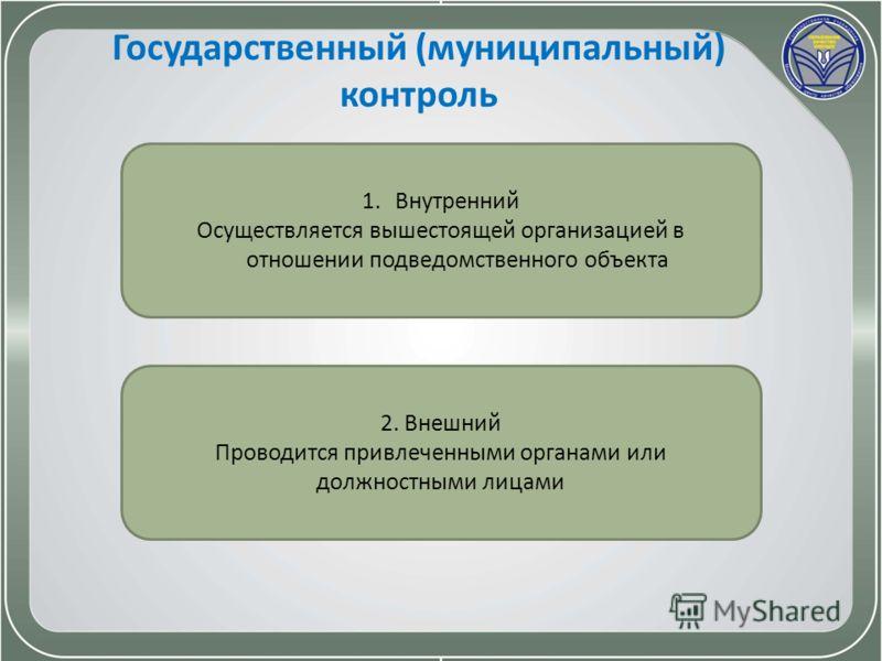 Государственный (муниципальный) контроль 1.Внутренний Осуществляется вышестоящей организацией в отношении подведомственного объекта 2. Внешний Проводится привлеченными органами или должностными лицами
