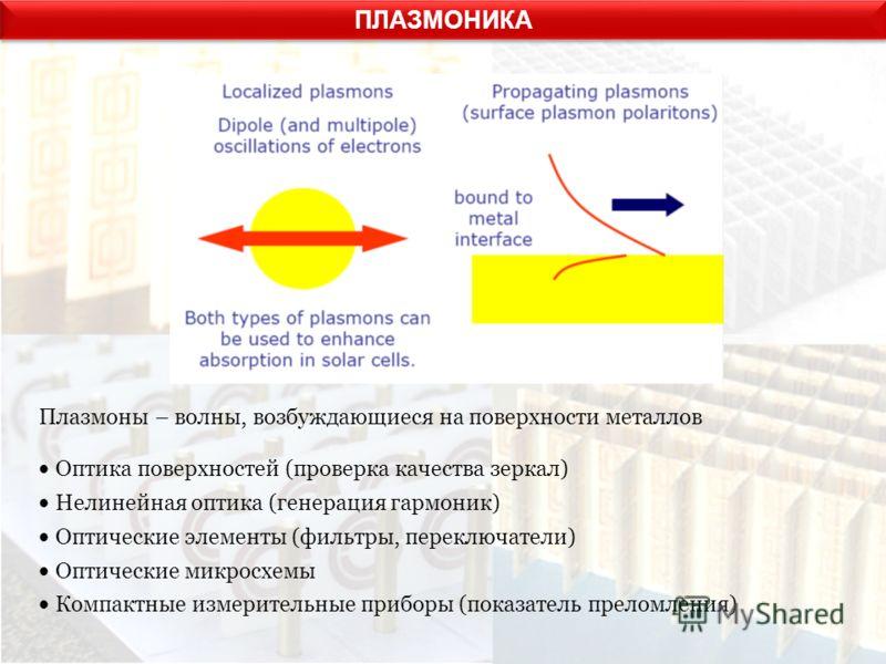 ПЛАЗМОНИКА Плазмоны – волны, возбуждающиеся на поверхности металлов Оптика поверхностей (проверка качества зеркал) Нелинейная оптика (генерация гармоник) Оптические элементы (фильтры, переключатели) Оптические микросхемы Компактные измерительные приб