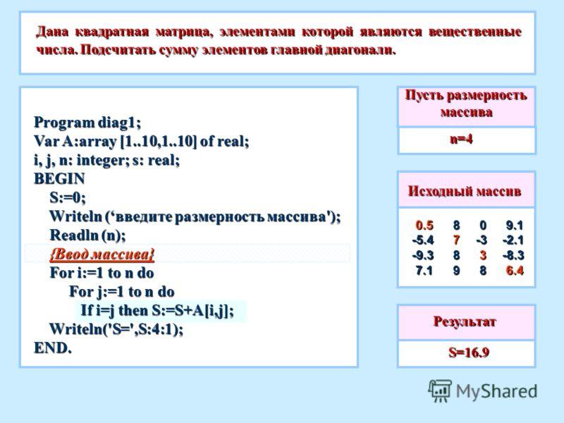 Пусть размерность массива n=4 Дана квадратная матрица, элементами которой являются вещественные числа. Подсчитать сумму элементов главной диагонали. S=16.9 S=16.9 Исходный массив 0.5 0.5-5.4 -9.3 7.1 7.1 9.1 9.1 -2.1 -8.3 6.4 6.4 0 0 -3 -3 3 3 8 8 8