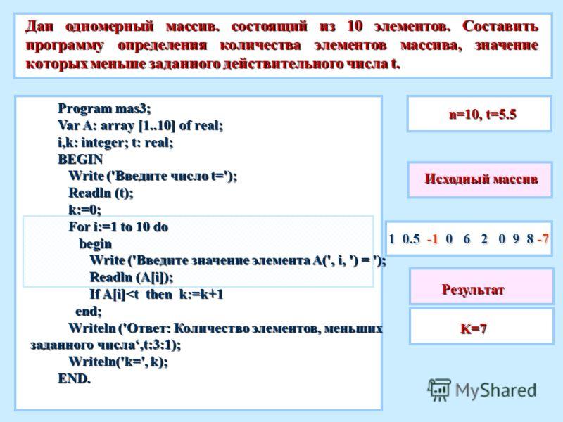 Дан одномерный массив. состоящий из 10 элементов. Составить программу определения количества элементов массива, значение которых меньше заданного действительного числа t. 1 0.5 -1 0 6 2 0 9 8 -7 Исходный массив n=10, t=5.5 Program mas3; Var A: array