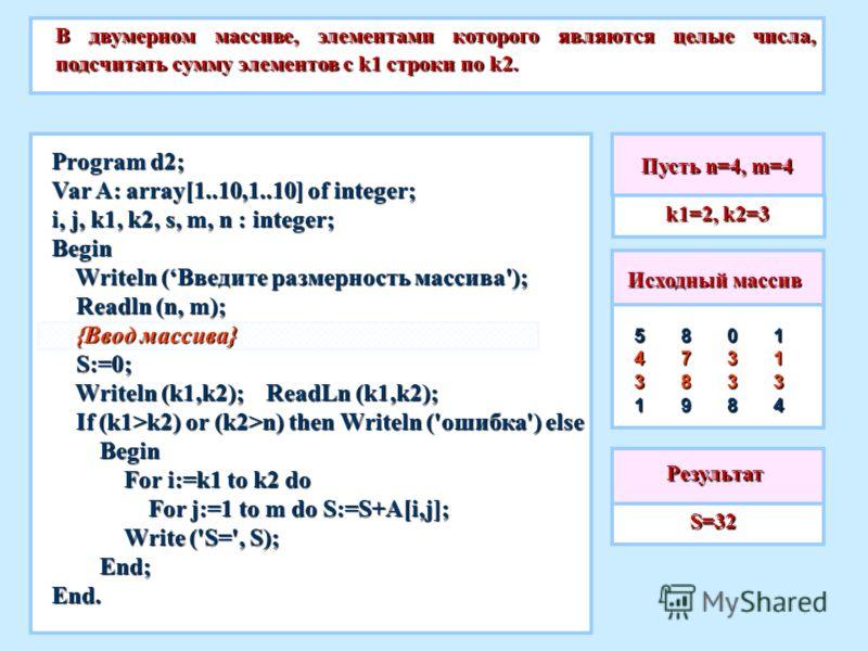 Пусть n=4, m=4 В двумерном массиве, элементами которого являются целые числа, подсчитать сумму элементов с k1 строки по k2. S=32 S=32 Исходный массив 5431113403388789Результат Program d2; Var A: array[1..10,1..10] of integer; i, j, k1, k2, s, m, n :