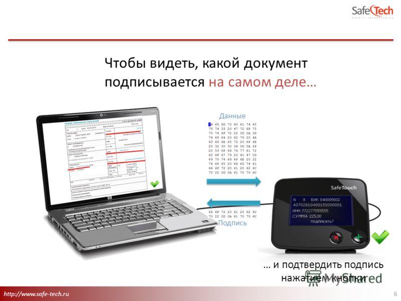 http://www.safe-tech.ru 6 Данные Подпись Чтобы видеть, какой документ подписывается на самом деле… … и подтвердить подпись нажатием кнопки