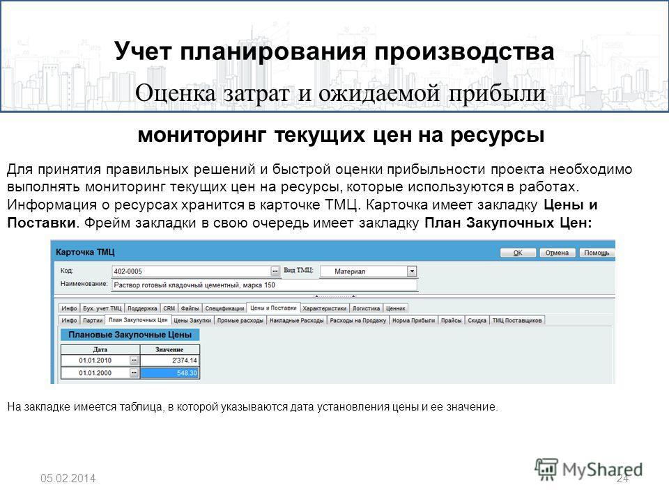 Учет планирования производства Оценка затрат и ожидаемой прибыли 05.02.201424 Для принятия правильных решений и быстрой оценки прибыльности проекта необходимо выполнять мониторинг текущих цен на ресурсы, которые используются в работах. Информация о р