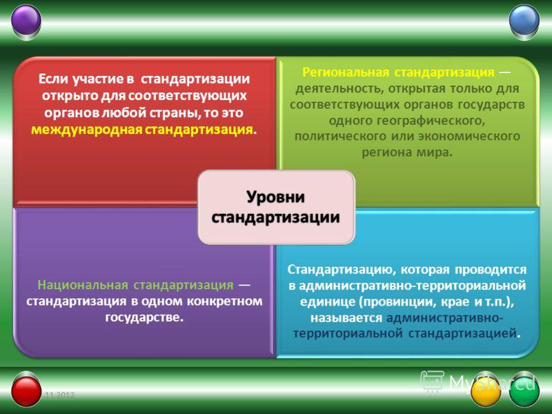 Если участие в стандартизации открыто для соответствующих органов любой страны, то это международная стандартизация. Региональная стандартизация деятельность, открытая только для соответствующих органов государств одного географического, политическог