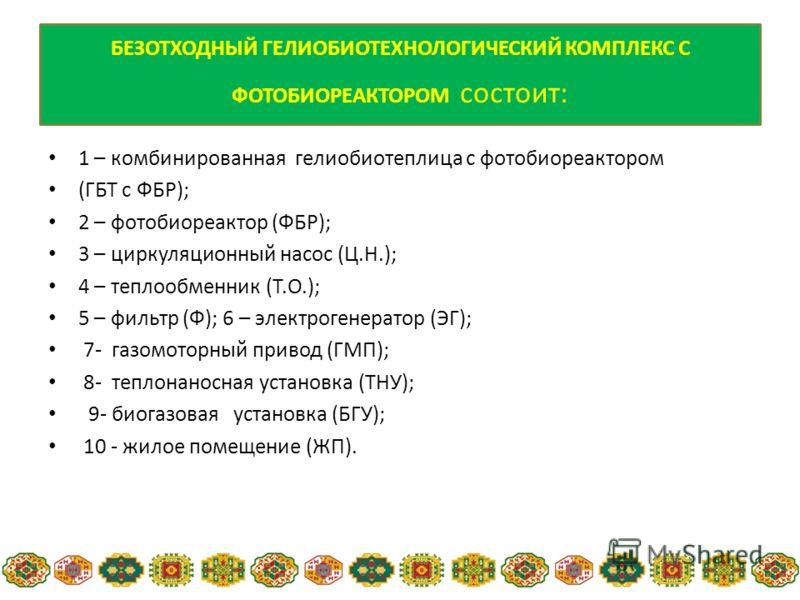 1 – комбинированная гелиобиотеплица с фотобиореактором (ГБТ с ФБР); 2 – фотобиореактор (ФБР); 3 – циркуляционный насос (Ц.Н.); 4 – теплообменник (Т.О.); 5 – фильтр (Ф); 6 – электрогенератор (ЭГ); 7- газомоторный привод (ГМП); 8- теплонаносная установ