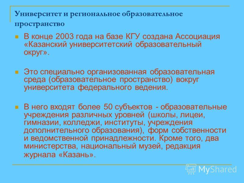 Университет и региональное образовательное пространство В конце 2003 года на базе КГУ создана Ассоциация «Казанский университетский образовательный округ». Это специально организованная образовательная среда (образовательное пространство) вокруг унив
