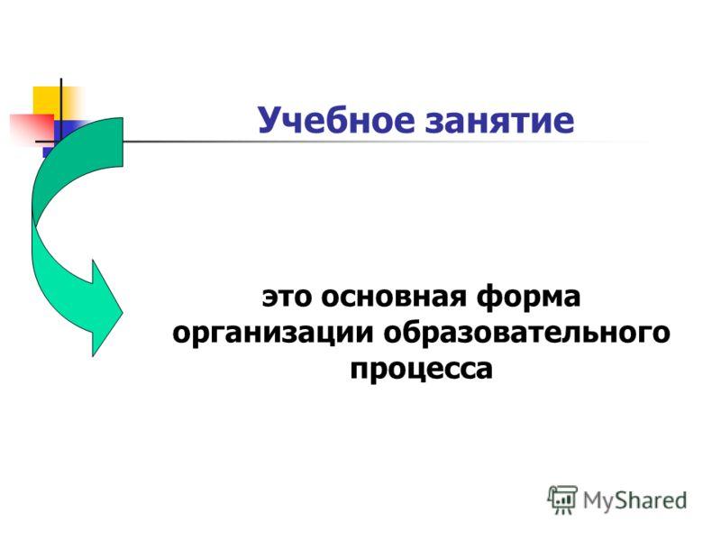это основная форма организации образовательного процесса Учебное занятие