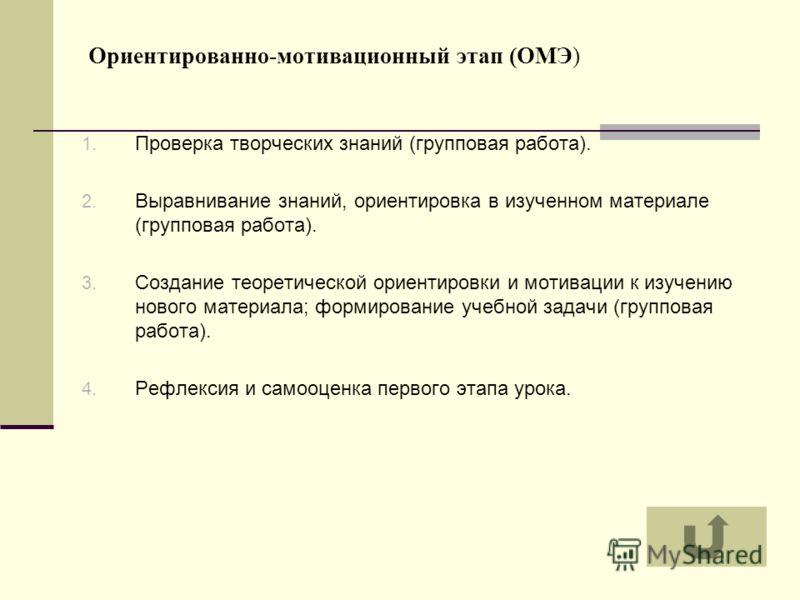 Ориентированно-мотивационный этап (ОМЭ) 1. Проверка творческих знаний (групповая работа). 2. Выравнивание знаний, ориентировка в изученном материале (групповая работа). 3. Создание теоретической ориентировки и мотивации к изучению нового материала; ф