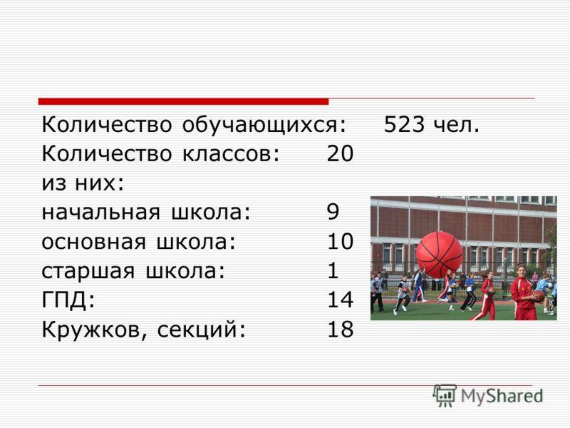 Количество обучающихся: 523 чел. Количество классов: 20 из них: начальная школа: 9 основная школа: 10 старшая школа: 1 ГПД: 14 Кружков, секций: 18