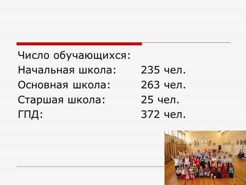 Число обучающихся: Начальная школа:235 чел. Основная школа:263 чел. Старшая школа:25 чел. ГПД:372 чел.