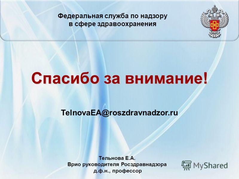 Спасибо за внимание! TelnovaEA@roszdravnadzor.ru Федеральная служба по надзору в сфере здравоохранения Тельнова Е.А. Врио руководителя Росздравнадзора д.ф.н., профессор