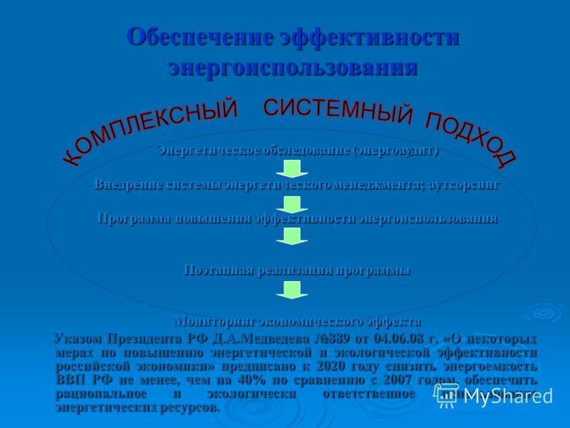 Обеспечение эффективности энергоиспользования Указом Президента РФ Д.А.Медведева 889 от 04.06.08 г. «О некоторых мерах по повышению энергетической и экологической эффективности российской экономики» предписано к 2020 году снизить энергоемкость ВВП РФ